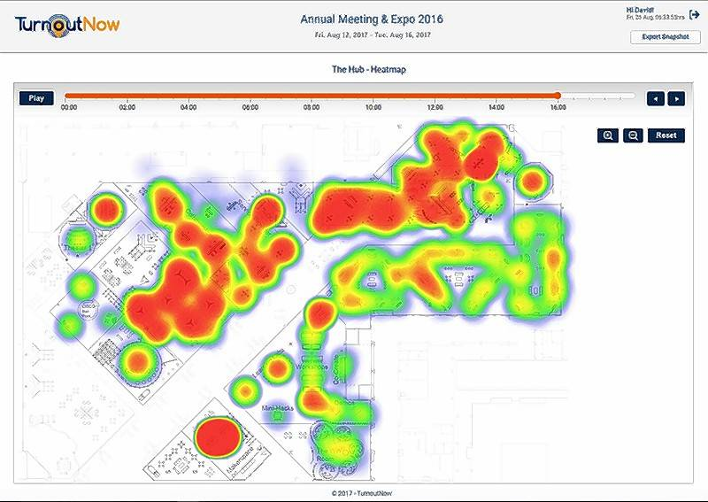 TurnoutNow's heat map, left, gives a real-time image of floor traffic that allows event planners to check on patterns and make adjustments on the fly. Data collected from wearable beacons is gathered and analyzed on a dashboard, below, for immediate information.
