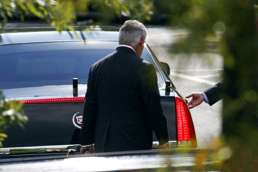 Secretary of State Rex Tillerson leaves the White House after having lunch with President Donald Trump, Tuesday, Oct. 10, 2017, in Washington. (AP Photo/Evan Vucci)