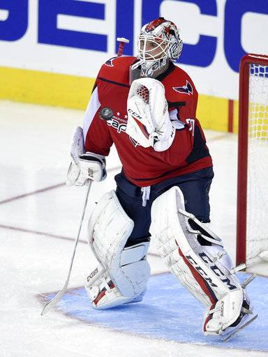 Washington Capitals goalie Braden Holtby (70) prepares to stop the puck during the third period of an NHL hockey game against the Pittsburgh Penguins, Wednesday, Oct. 11, 2017, in Washington. The Penguins won 3-2.