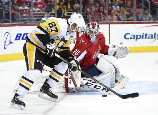 Washington Capitals goalie Braden Holtby (70) watches the puck against Pittsburgh Penguins center Sidney Crosby (87) during the first period of an NHL hockey game, Wednesday, Oct. 11, 2017, in Washington.
