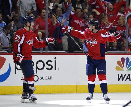 Washington Capitals defenseman Christian Djoos, right, celebrates his goal with center Lars Eller (20) during the second period of an NHL hockey game against the Pittsburgh Penguins, Wednesday, Oct. 11, 2017, in Washington.