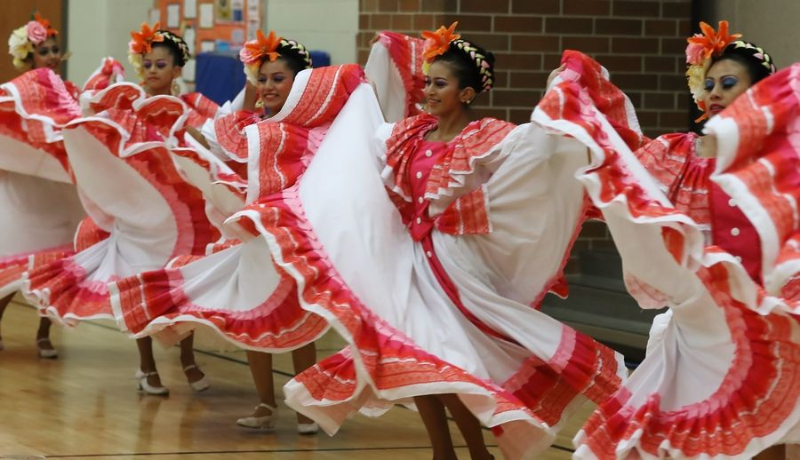 Members of Ballet Folklórico Tayahua dance during the Hispanic Heritage Celebration on Thursday at Prairie Trail School in Wadsworth.