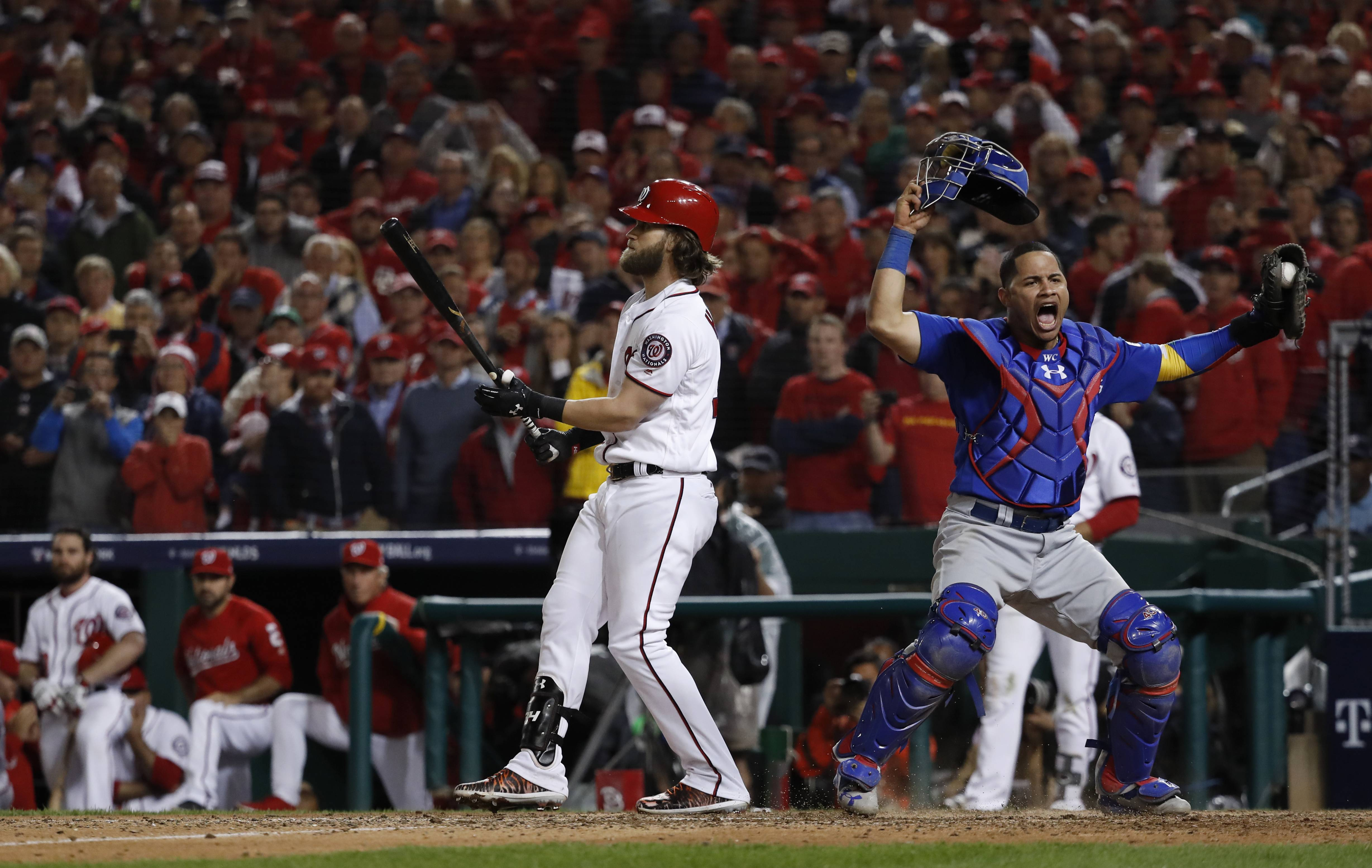 Cubs catcher Willson Contreras begins to celebrate after Washington Nationals' Bryce Harper struck out swinging in the ninth inning to end Game 5 of the National League division series, at Nationals Park, early Friday, in Washington. The Cubs advanced to the NLCS with a 9-8 win.