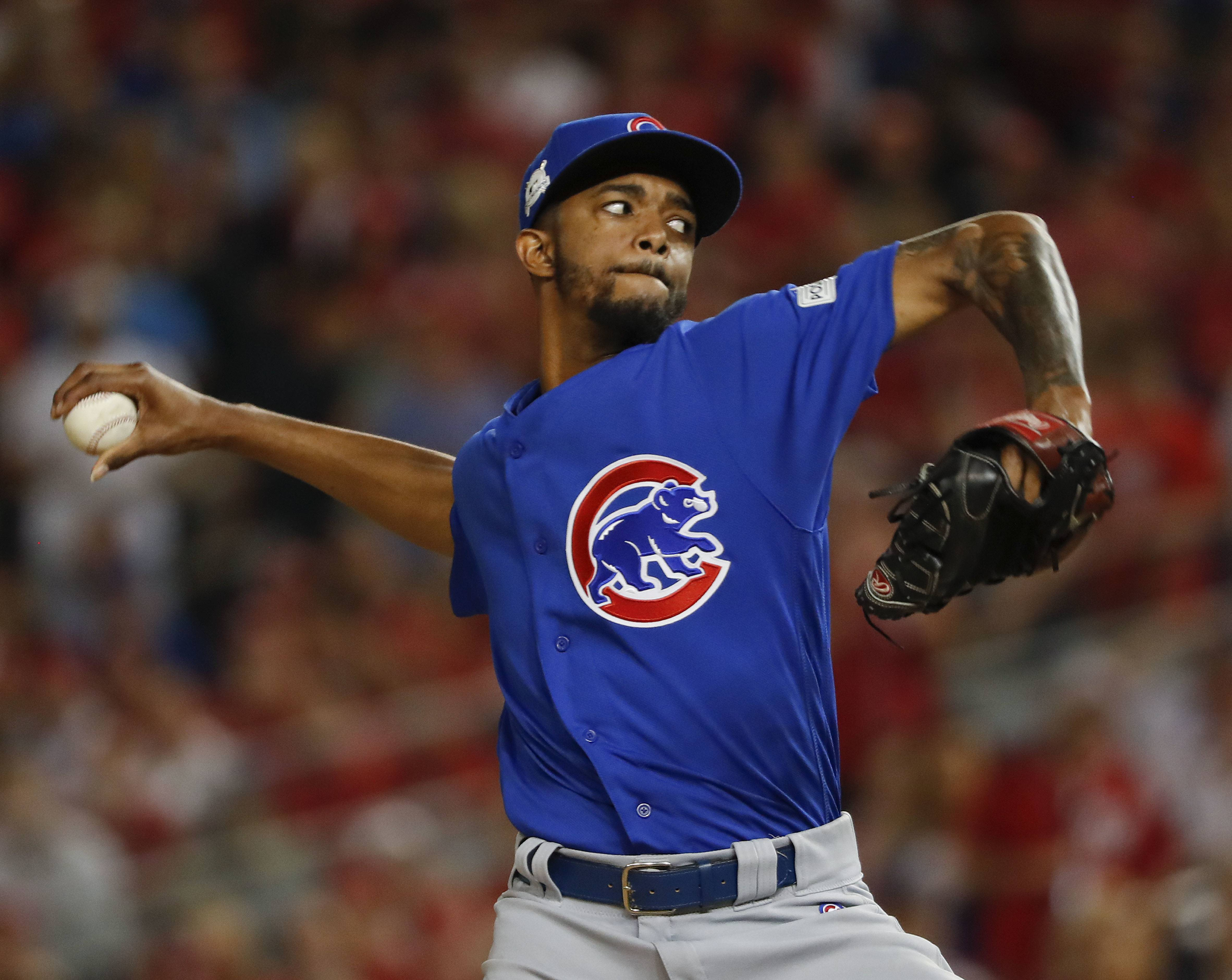 Chicago Cubs relief pitcher Carl Edwards Jr. throws against the Washington Nationals in the eighth inning of Game 1 of baseball's National League Division Series, at Nationals Park, Friday, Oct. 6, 2017, in Washington.