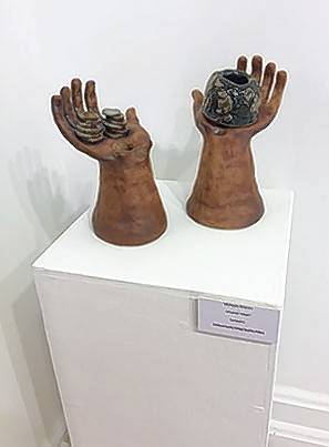 "Ceramic pieces, ""Of Lesser Value?"" by McKayla Gracios of Woodstock, is displayed at the ""Not Yet"" ceramics show at MCC's Satellite Gallery in the Old Woodstock Courthouse."