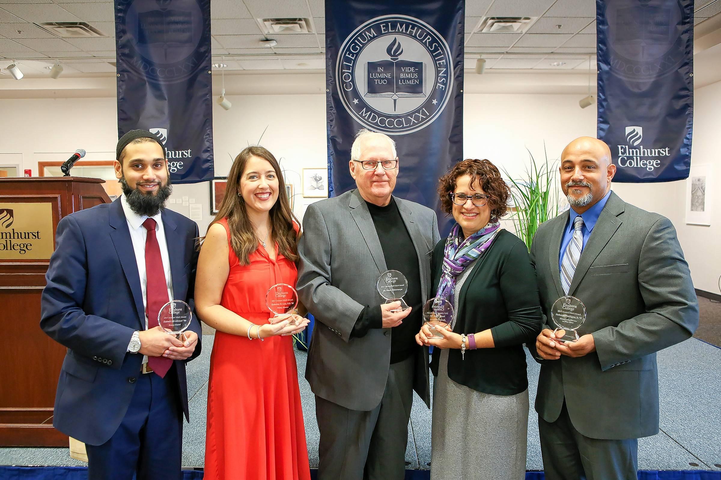 Marvelous Elmhurst College Recently Honored, From Left, Zubair Ahmed, Katherine M.  Lenz,