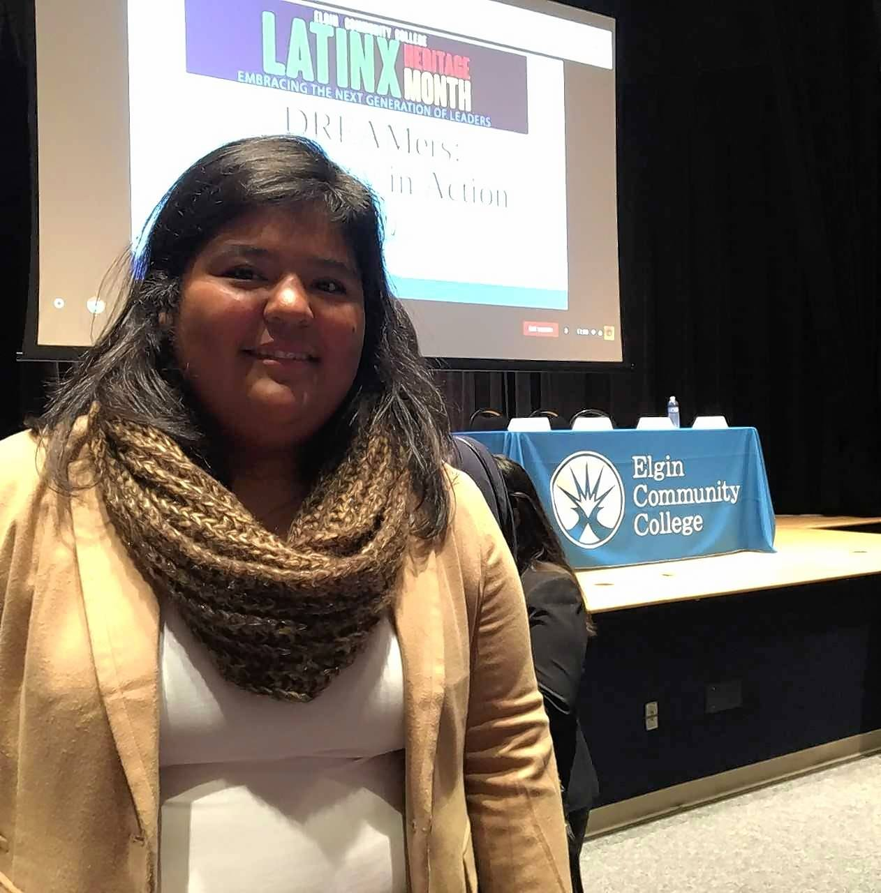 Elgin Community College student Anna Rojas talked about her experience being an undocumented immigrant under DACA protection Friday during a discussion addressing changes to immigration laws affecting students like herself at the college.