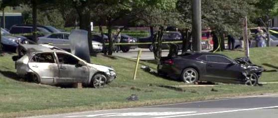 Police say the black Camaro, right, was traveling 135 mph when it rear-ended another car, killing its 23-year-old driver in Wheaton.