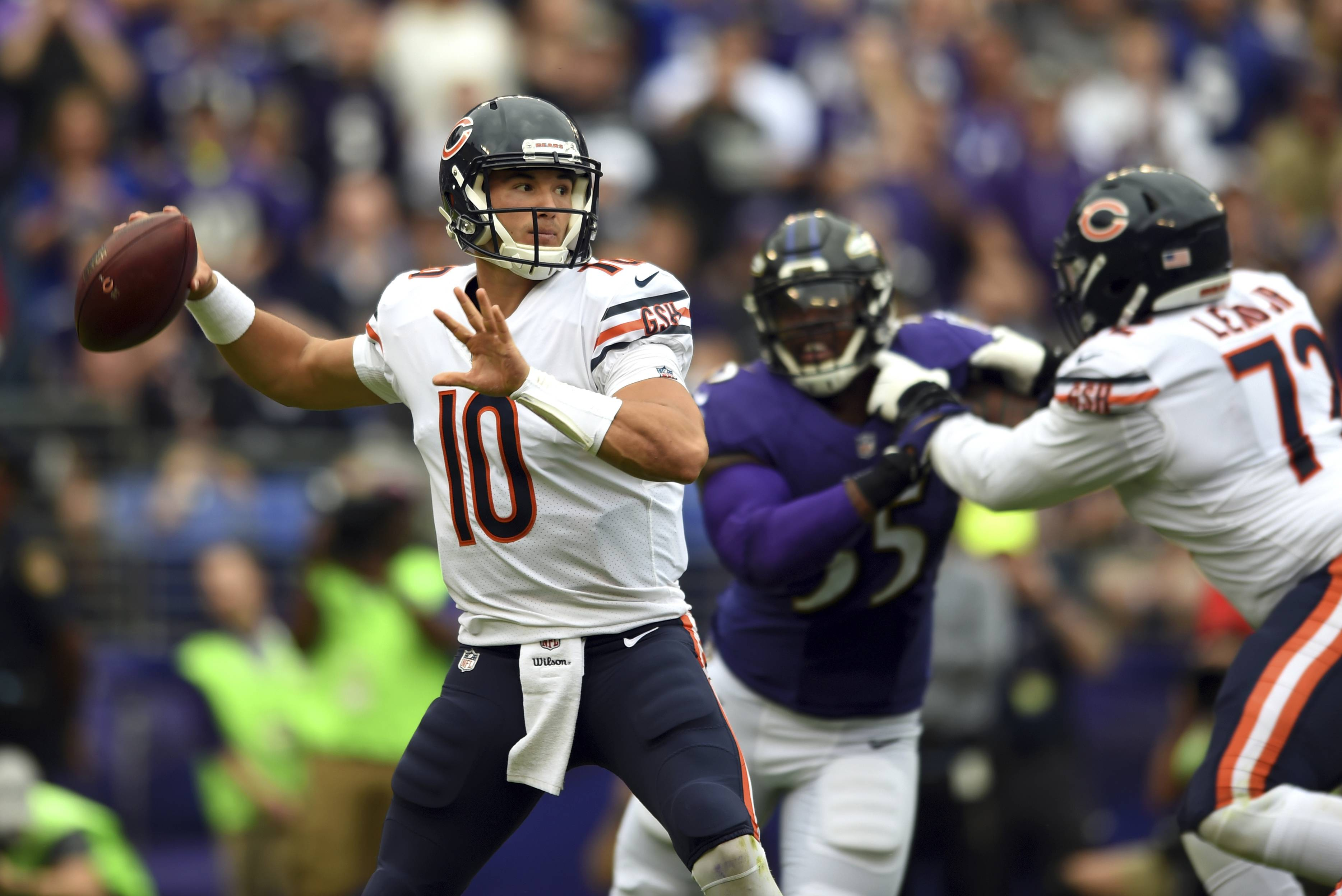 Chicago Bears quarterback Mitchell Trubisky (10) throws to a receiver in the first half of an NFL football game against the Baltimore Ravens, Sunday, Oct. 15, 2017, in Baltimore.