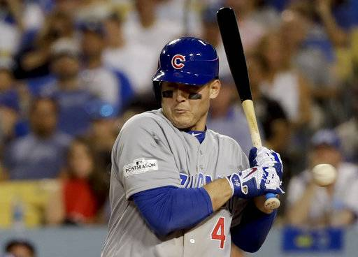 Chicago Cubs' Anthony Rizzo reacts after getting hit by a pitch during the ninth inning of Game 2 of baseball's National League Championship Series against the Los Angeles Dodgers in Los Angeles, Sunday, Oct. 15, 2017. (AP Photo/Matt Slocum)