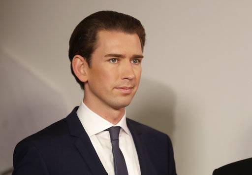Foreign Minister Sebastian Kurz, head of Austrian People's Party, smiles in Vienna, Austria, Sunday, Oct. 15, 2017, after the closing of the polling stations for the Austrian national elections. (AP Photo/Matthias Schrader)