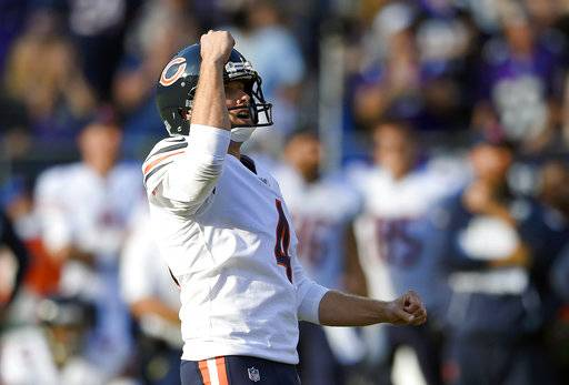 Chicago Bears kicker Connor Barth reacts after kicking the game-winning field goal in an overtime period of an NFL football game against the Baltimore Ravens, Sunday, Oct. 15, 2017, in Baltimore. Chicago won 27-24 in overtime.