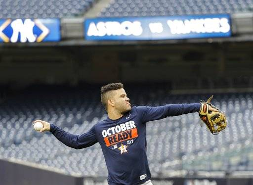 Houston Astros' Jose Altuve throws during a practice session at Yankee Stadium for Game 3 of the American League Championship Series baseball game against the New York Yankees Sunday, Oct. 15, 2017, in New York. (AP Photo/David J. Phillip)