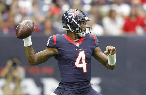 Houston Texans quarterback Deshaun Watson (4) throws a pass in the first half of an NFL football game against the Cleveland Browns on Sunday, Oct. 15, 2017, in Houston. (AP Photo/Eric Gay)