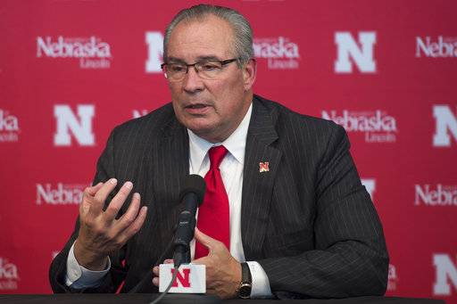 Bill Moos is announced at a news conference in Lincoln, Neb., as the new athletic director at Nebraska, Sunday, Oct. 15, 2017. (Kaylay Wolf/The Journal-Star via AP)