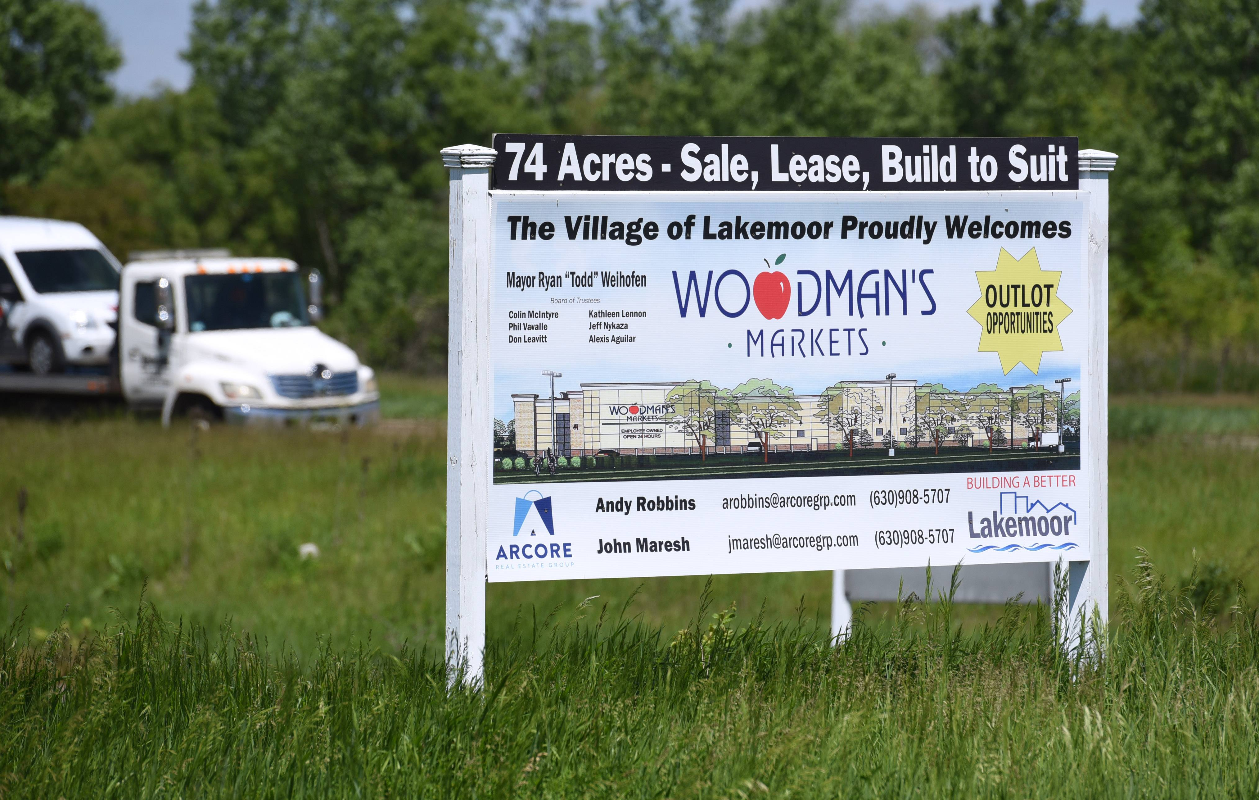 The site of a proposed Woodman's Food Market at the southwest corner of routes 12 and 120 in Lakemoor. After a groundbreaking ceremony over the weekend, work to prepare the site for development is underway.
