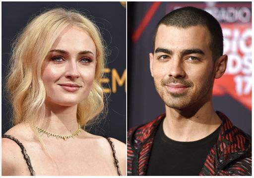 "This combination photo shows Sophie Turner at the 68th Primetime Emmy Awards in Los Angeles on Sept. 18, 2016, left, and musician Joe Jonas at the iHeartRadio Music Awards in Inglewood, Calif., on March 5, 2017. Turner and Jonas are engaged. They shared the same photo on Instagram Sunday, Oct. 15, 2017, of her hand sporting a diamond ring and resting on top of his. Turner noted in her caption: ""I said yes.� (Photo by Jordan Strauss/Invision/AP, File)"