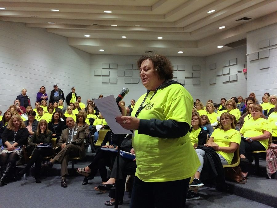 Rosella Roddy-Bartoli, a program assistant at Lincoln Elementary School in Palatine, spoke at last Wednesday night's Palatine Township Elementary District 15 board meeting. She and other support employees want a new contract and went on strike today.