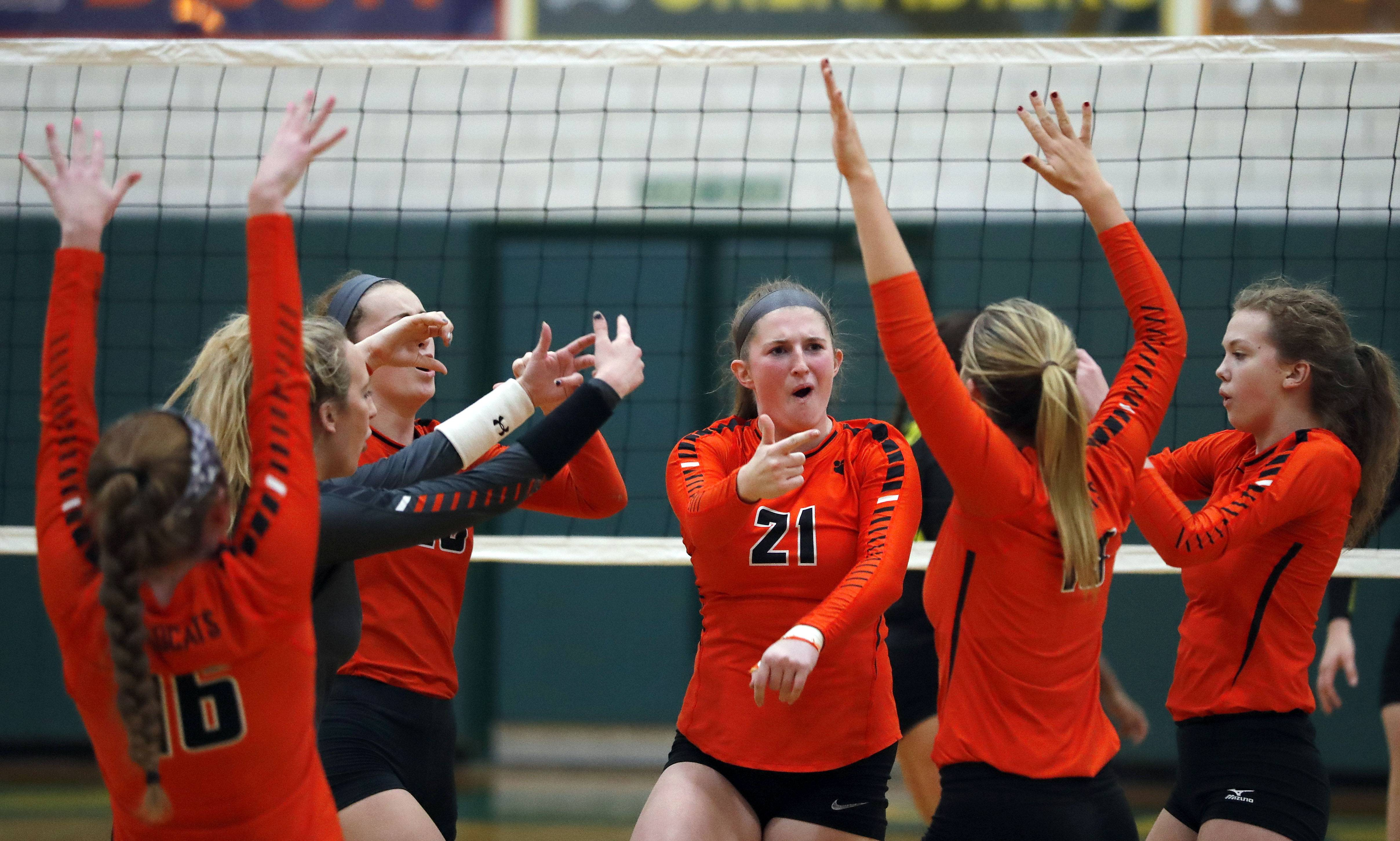 Libertyville players celebrate Monday against host Fremd.