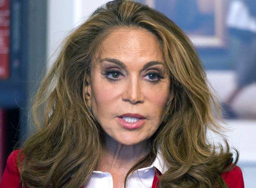 FILE - In this May 7, 2015 file photo, Pamela Geller speaks during an interview at The Associated Press in New York. Attorneys are set to make their final pitches to jurors in the case of a man accused of participating in a plot to behead conservative blogger Geller. Closing arguments in David Wright's trial are expected Tuesday, Oct. 17, 2017, in Boston's federal courthouse. (AP Photo/Mark Lennihan, File)
