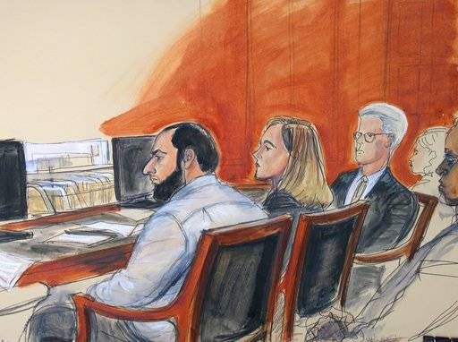 In this courtroom artist's drawing, Ahmad Khan Rahimi, left, is seated next to his federal defender Meghan Gilligan, during the reading of a verdict in his trial, Monday, Oct. 16, 2017 in New York federal court. Jurors found Rahimi guilty of all charges, including counts of using a weapon of mass destruction and bombing a public place. The Afghanistan-born man who was living in Elizabeth, New Jersey at the time of the bombing, faces a maximum punishment of life in prison. (AP Photo/Elizabeth Williams)