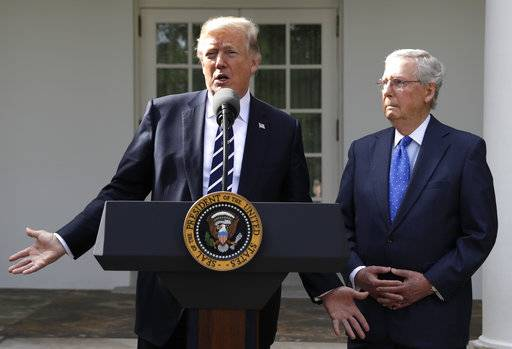 President Donald Trump answers questions with Senate Majority Leader Mitch McConnell, R-Ky., in the Rose Garden at the White House, Monday, Oct. 16, 2017, in Washington. (AP Photo/Evan Vucci)