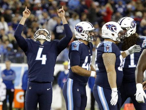 Tennessee Titans kicker Ryan Succop (4) celebrates after kicking a 48-yard field goal against the Indianapolis Colts in the second half of an NFL football game Monday, Oct. 16, 2017, in Nashville, Tenn. (AP Photo/James Kenney)