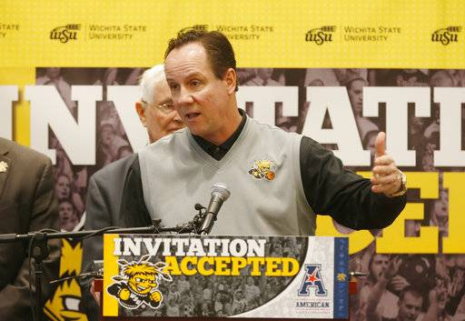 FILE - In this April 7, 2017, file photo, Wichita State NCAA college basketball head coach Gregg Marshall speaks about the schools move to the American Athletic Conference, ending a relationship with the Missouri Valley Conference, in Wichita, Kan. Coach Gregg Marshall led the Shockers to a Final Four in 2013. Now, he wants to lead them to the top of WSU's new conference. (Bo Rader/The Wichita Eagle via AP, File)