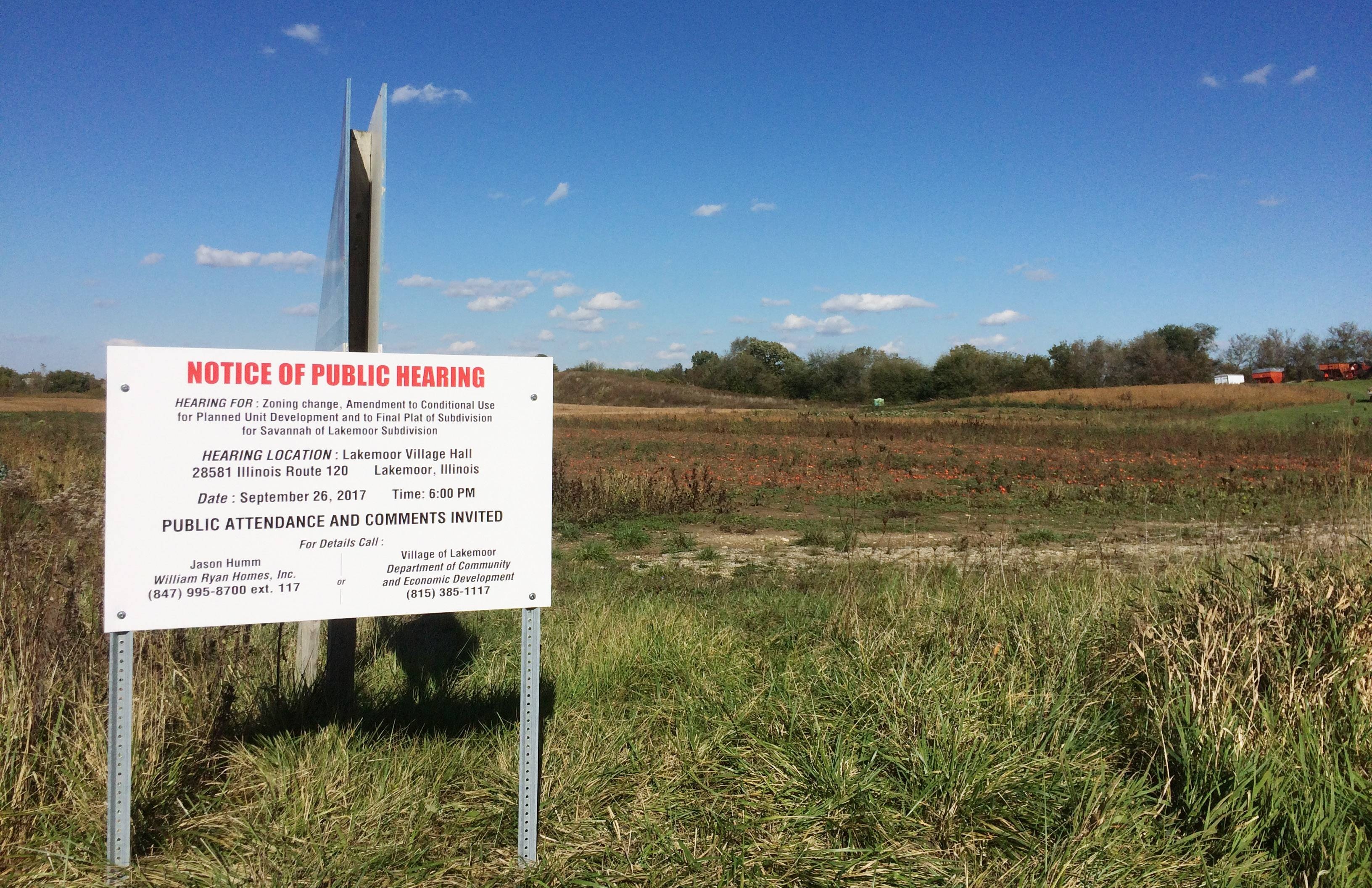 Public hearings have been held and approvals given for the 75-home Savannah subdivision by William Ryan Homes north of Route 120 in Lakemoor.