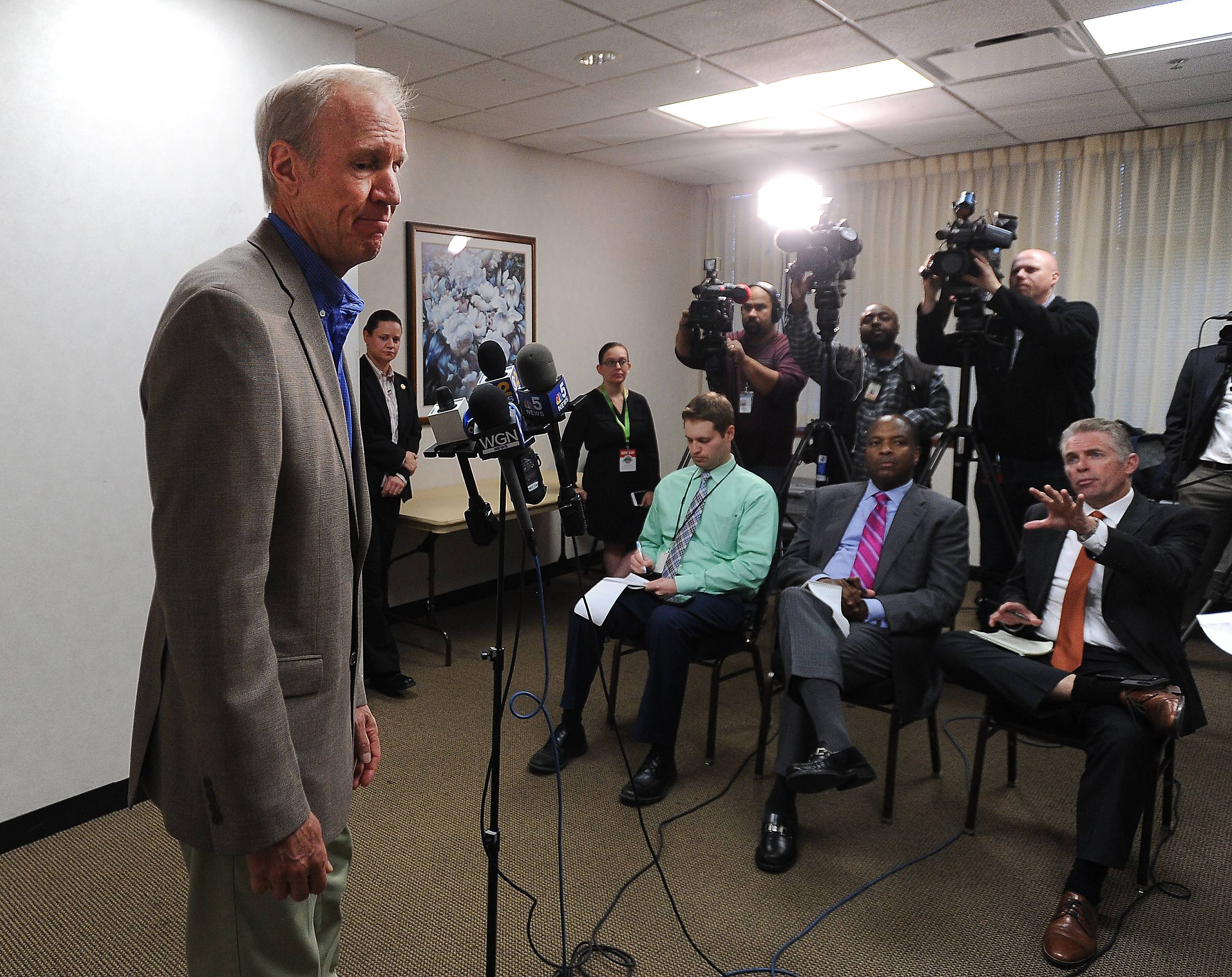 Gov. Bruce Rauner concludes a news conference after taking questions from reporters Tuesday in Elk Grove Village.