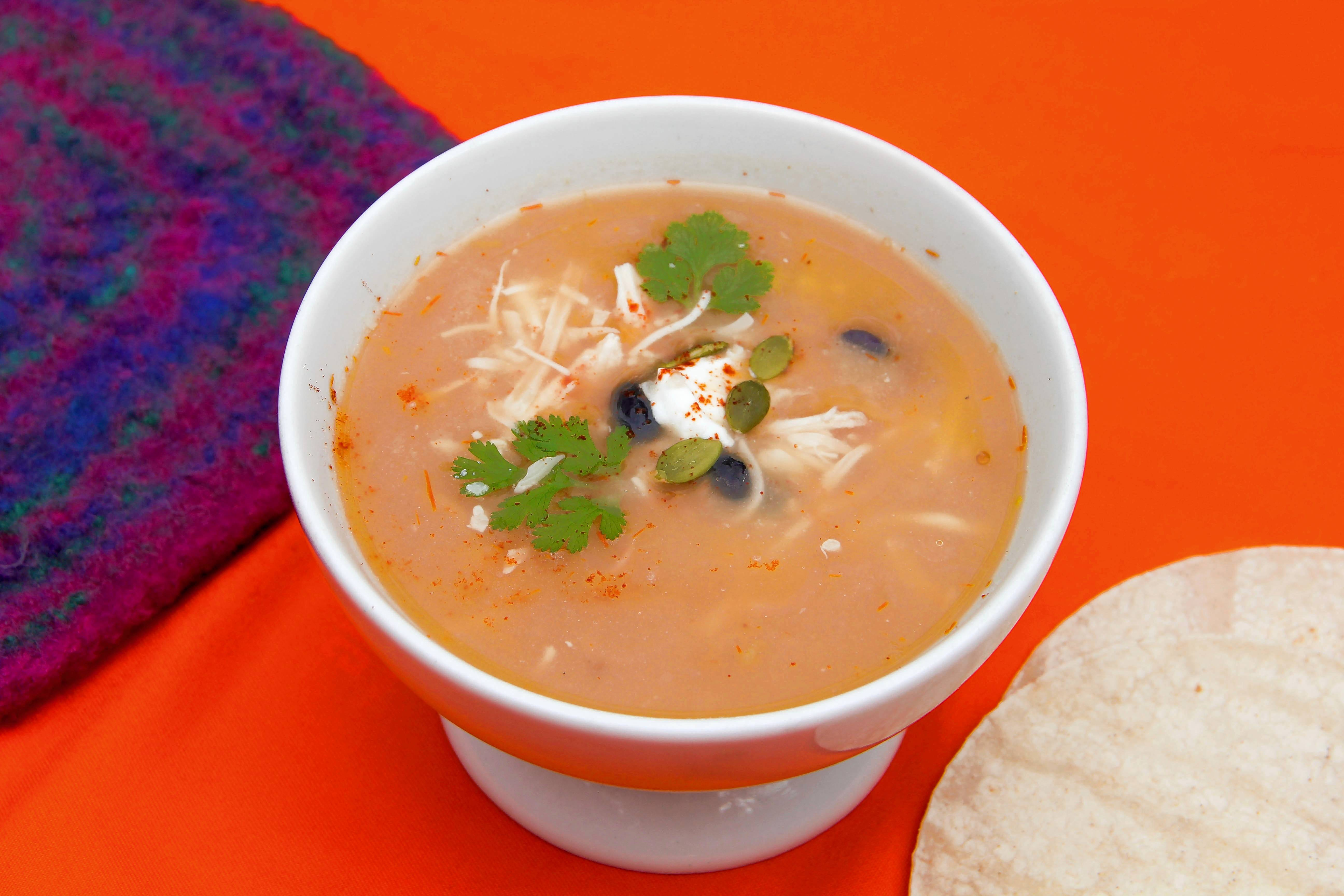 Melissa d'Arabian's 10-minute tortilla soup is fast, filling comfort food.
