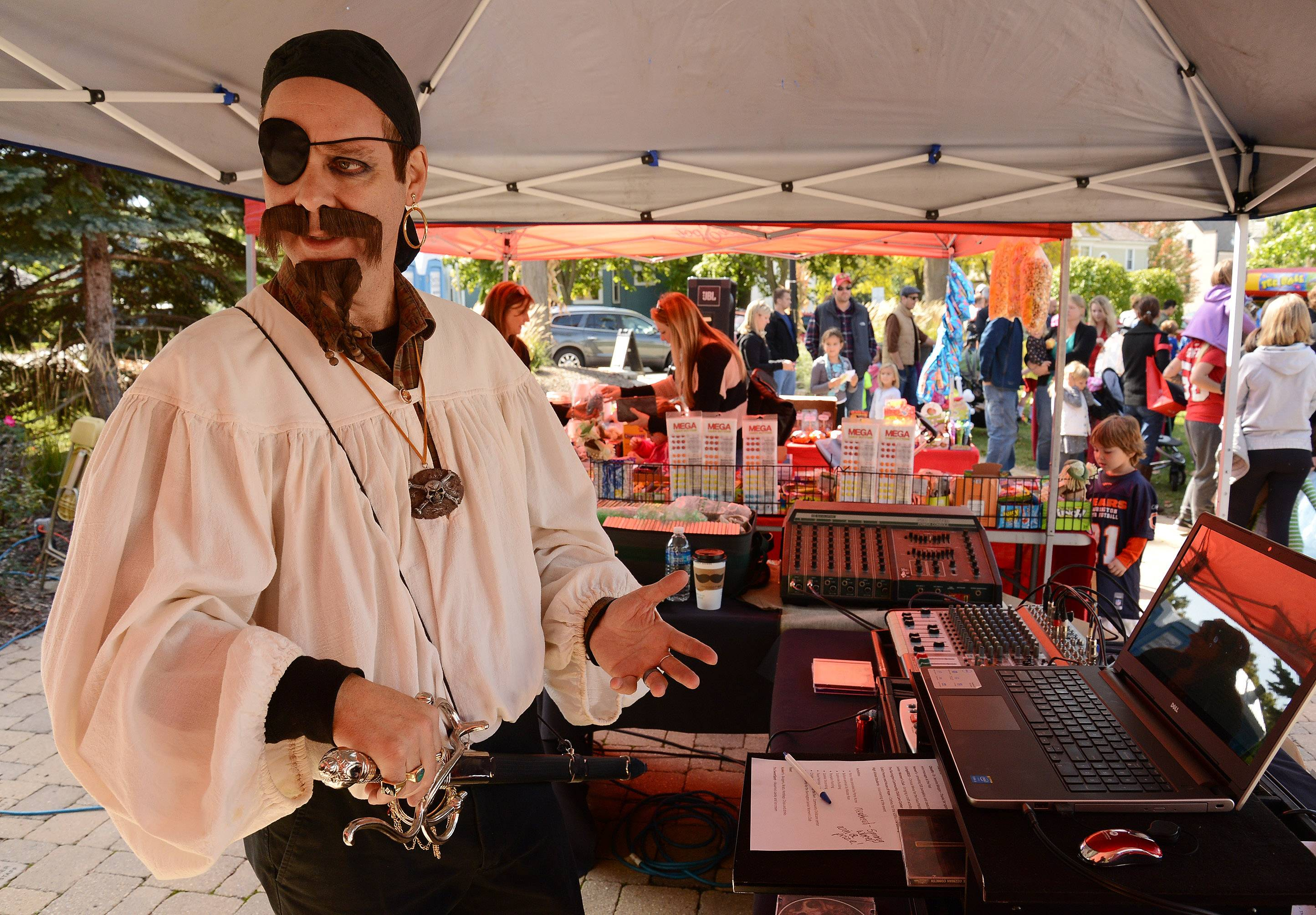 "Bob Roig of Barrington, also known as ""Bob the DJ,"" spins tunes at a previous Scarecrow Fest. Ruig dresses in a different costume every year."