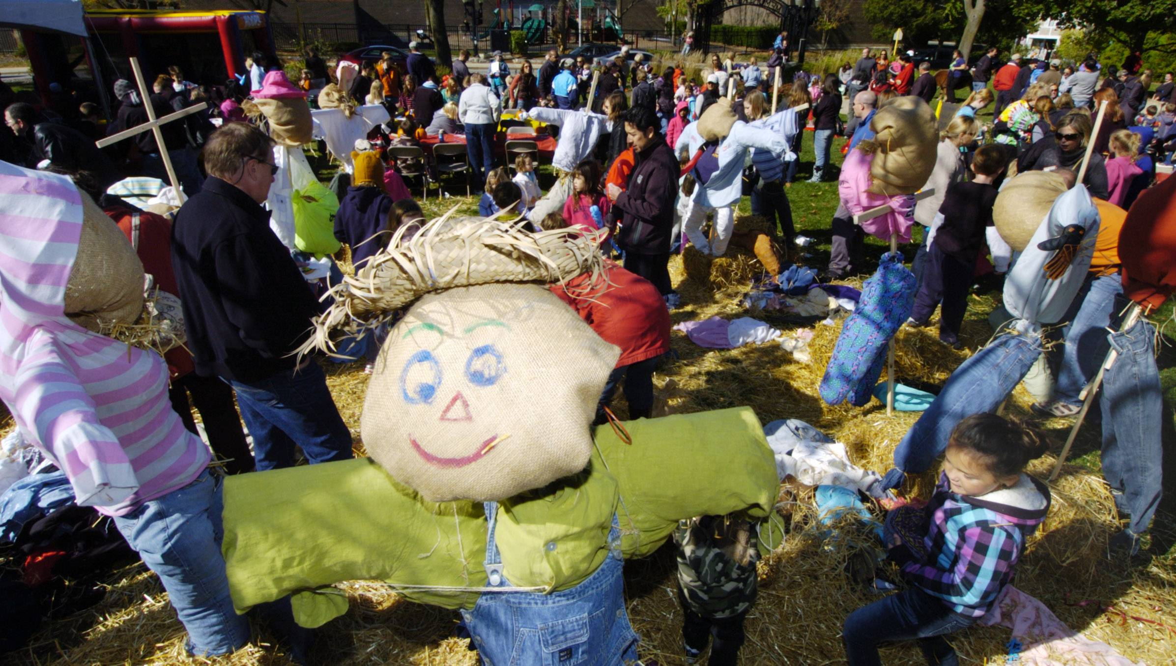 Participants can decorate scarecrows at Barrington's annual Scarecrow Festival.
