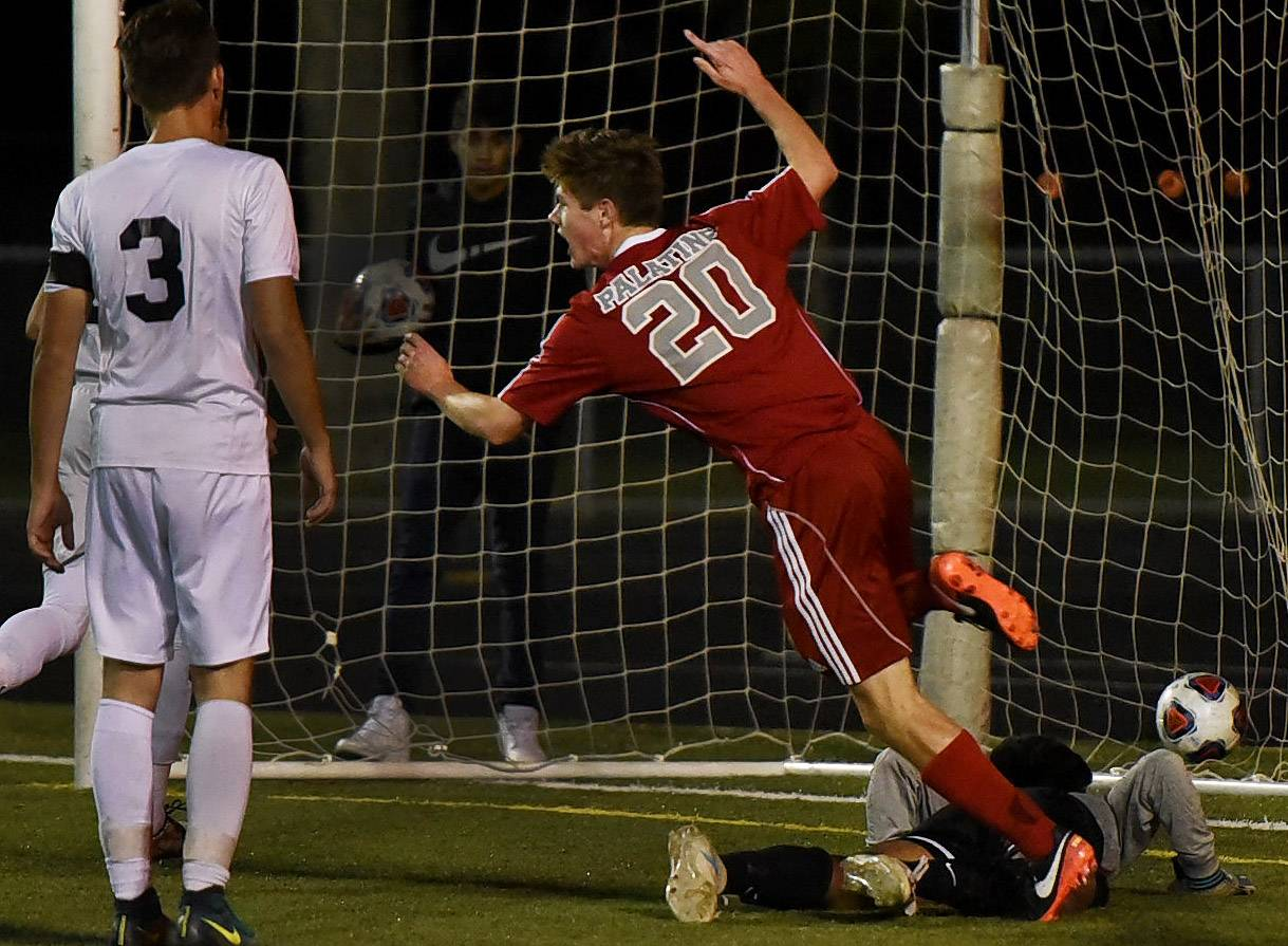 Connor Nix of Palatine scores a goal in the first half Tuesday against visiting Round Lake.