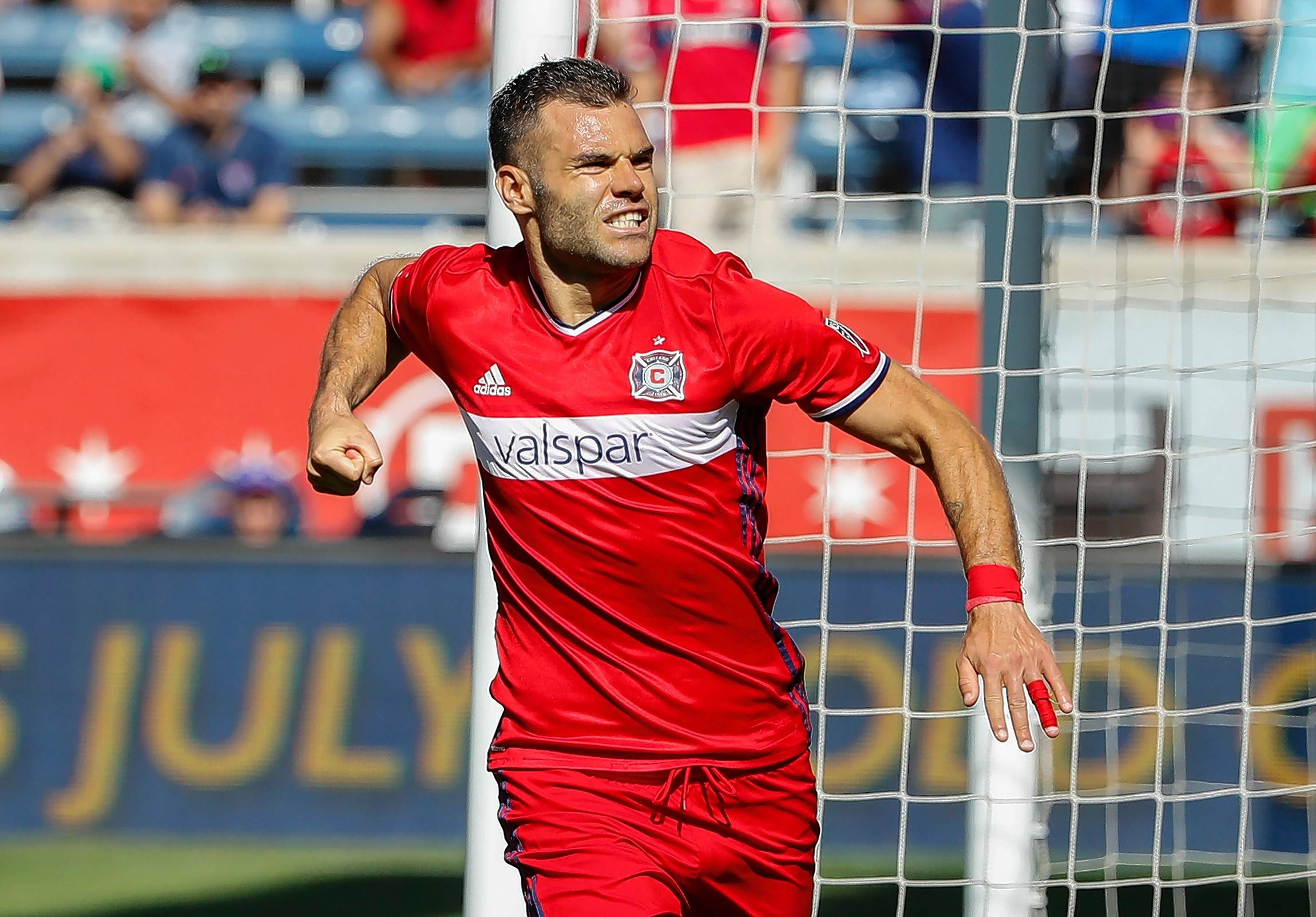 Chicago Fire forward Nemanja Nikolic celebrates after scoring on a penalty kick against Atlanta United goalkeeper Alec Kann during the second half of an MLS soccer match, Saturday, June 10, 2017, in Bridgeview, Ill. (AP Photo/Kamil Krzaczynski)
