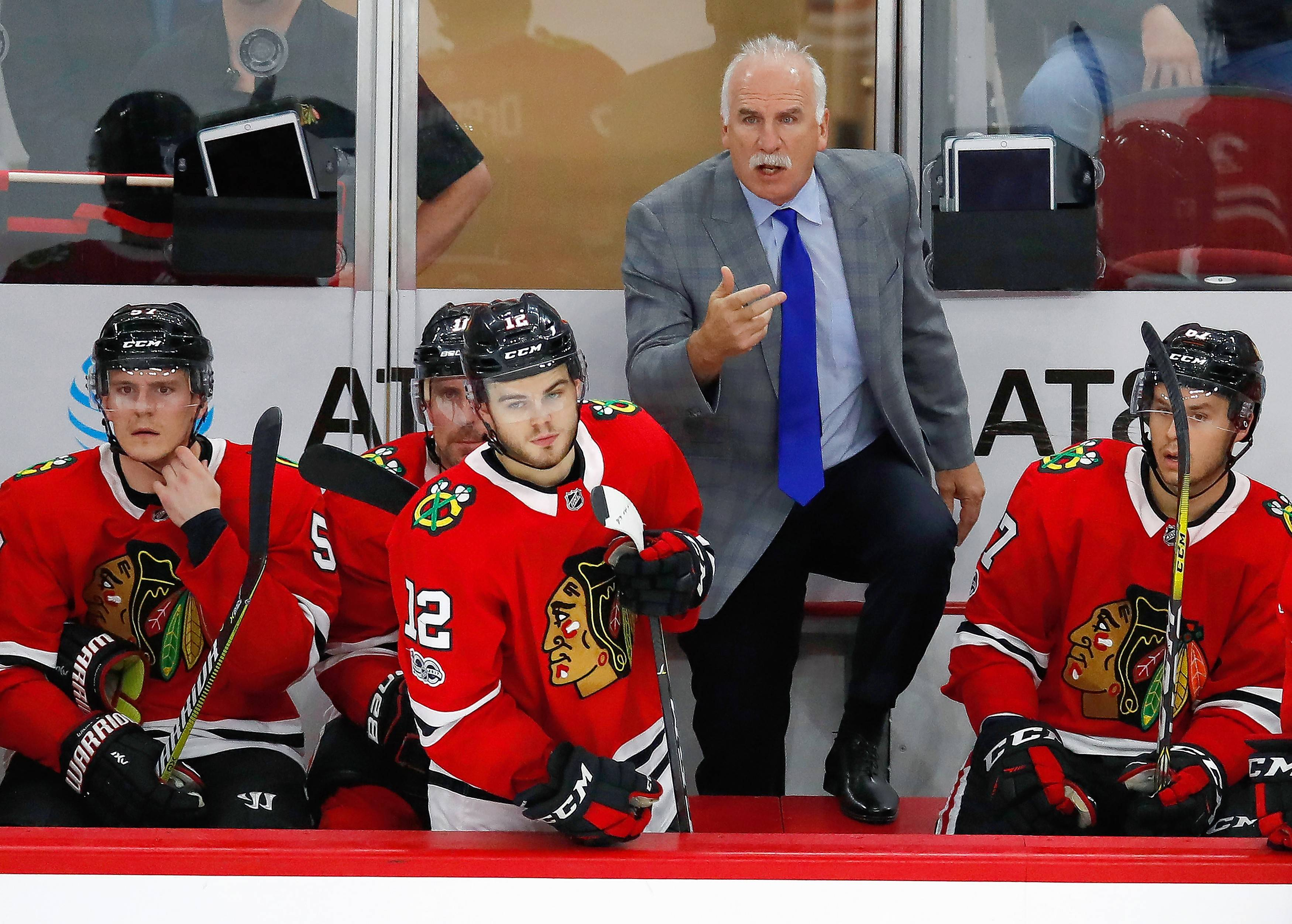 "The Blackhawks mixed up the power-play units at practice Tuesday night, hoping to get a spark from the struggling units in their upcoming games. Head coach Joel Quenneville likes how the Hawks have entered the zone on the power play, but doesn't like how his team takes so long to find the perfect shot. ""(That's) where we've been getting slowed down a little bit,"" Quenneville said. ""We feel like we have a lot of motion in our 5-on-5 game. Don't stay stationary or predictable."""