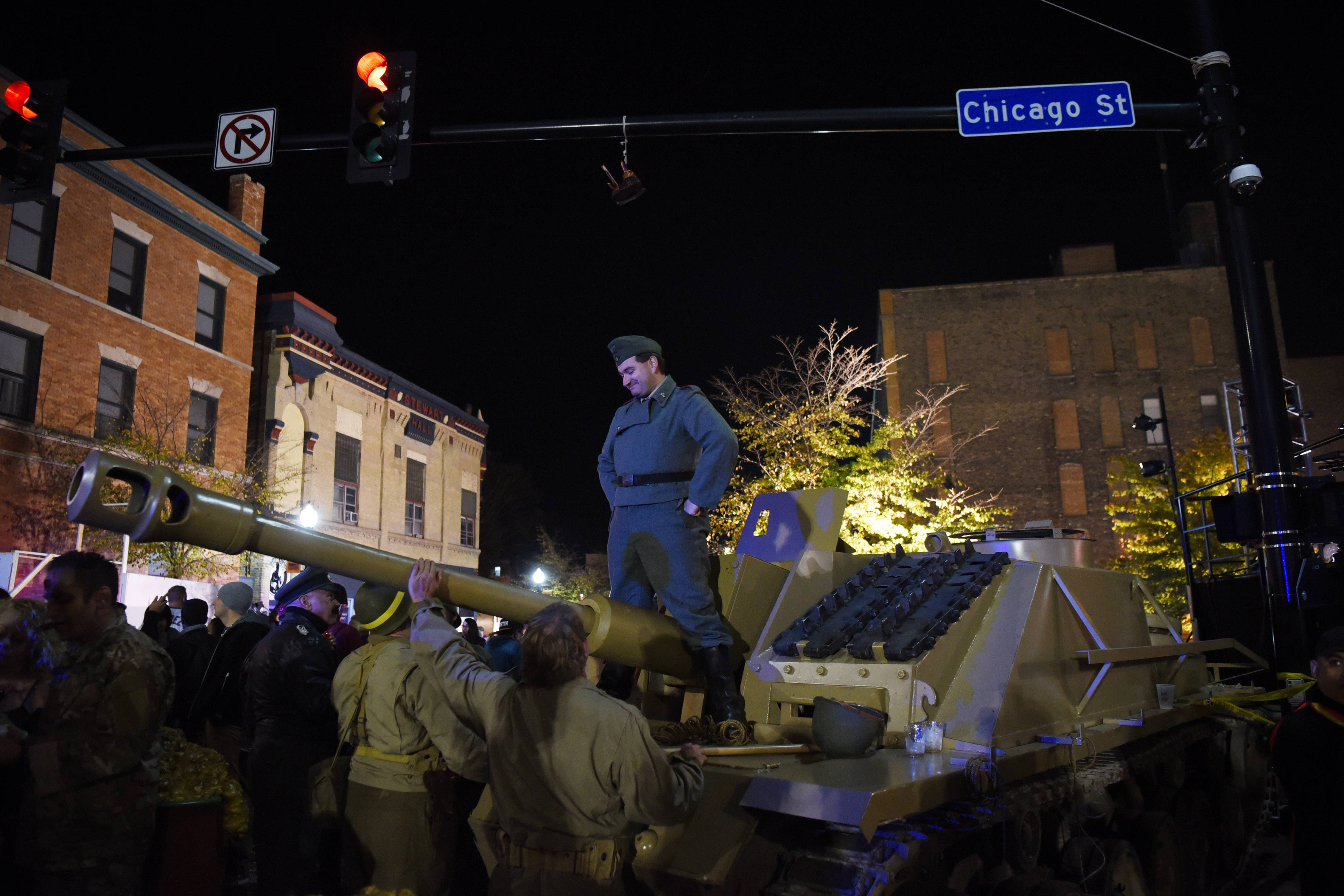 A tank and costumed soldiers are part of the scene during last year's Nightmare on Chicago Street.