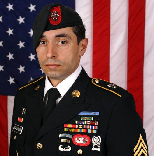 This photo provided by the U.S. Army shows Staff Sgt. Mark De Alencar, who was killed Saturday, April 8, 2017, in combat in Afghanistan. It was less than 24 hours after Natasha De Alencar had seen her husband's body returned from Afghanistan to Dover Air Force Base that she got a call from President Donald Trump offering his condolences. She doesn't remember how long they spoke. It was a bit of a blur. (US Army via AP)