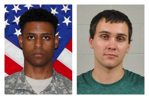 "This combination of photos provided by the U.S. Army and the University of Maryland Police Department shows Richard Collins III, right, and Sean Urbanski. On Tuesday, Oct. 17, 2017, Urbanski was indicted on a hate crime charge for allegedly stabbing Collins to death ""because of his race,� a Maryland prosecutor said. (U.S. Army, University of Maryland Police Department via AP)"