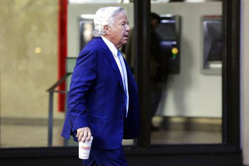New England Patriots NFL football team owner Robert Kraft arrives for meeting at the league headquarters in New York, Tuesday, Oct. 17, 2017. (AP Photo/Richard Drew)
