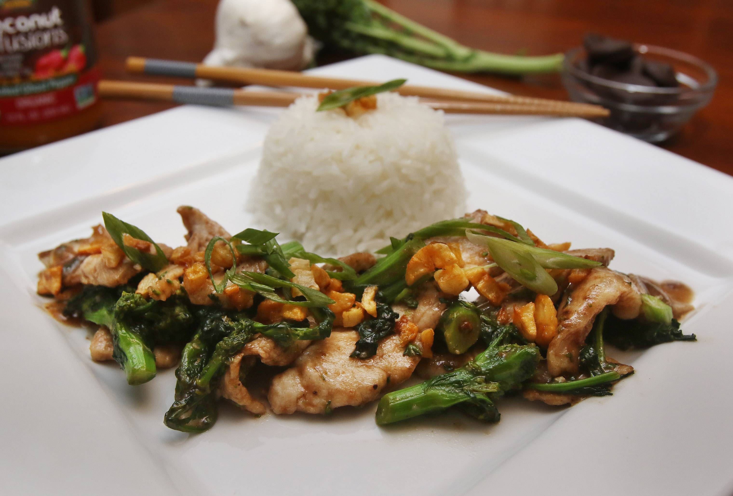 Joe Wachter's Stir-Fried Pork and Broccoli Raab in Brown Sauce with Fried Garlic