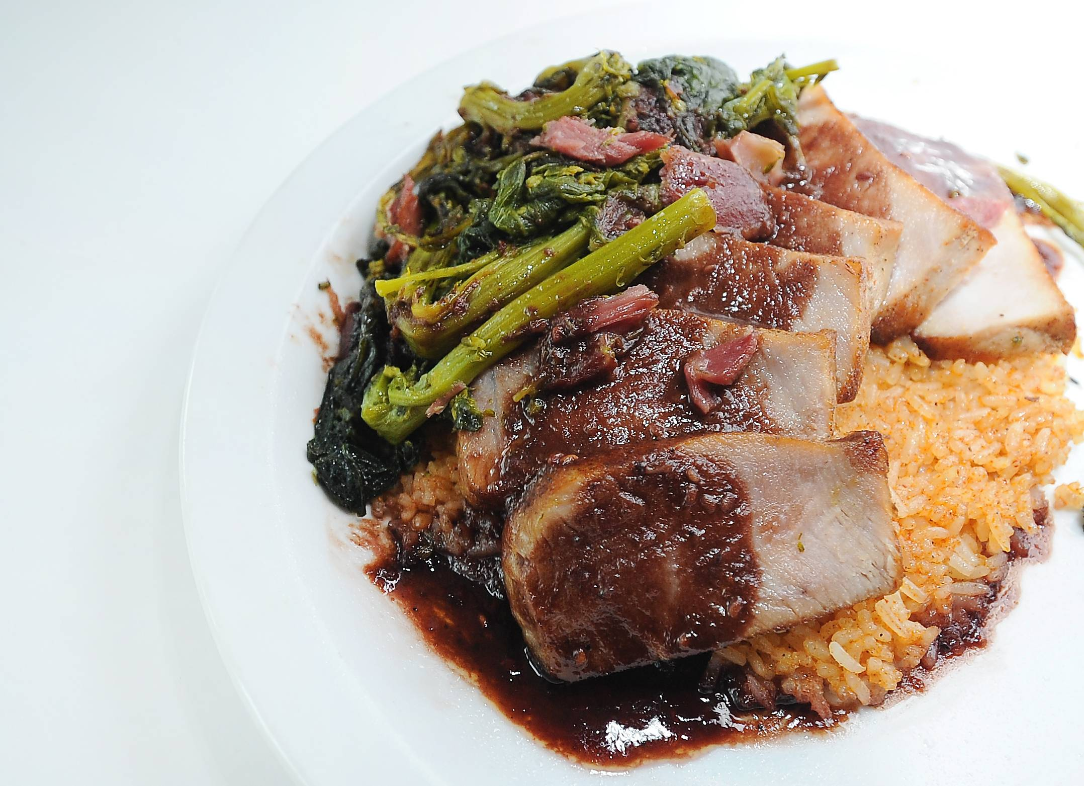 Daniel Imburgia's Spicy Chocolate Raspberry Drizzled Cajun Pork Chops with Southern Style Broccoli Raab