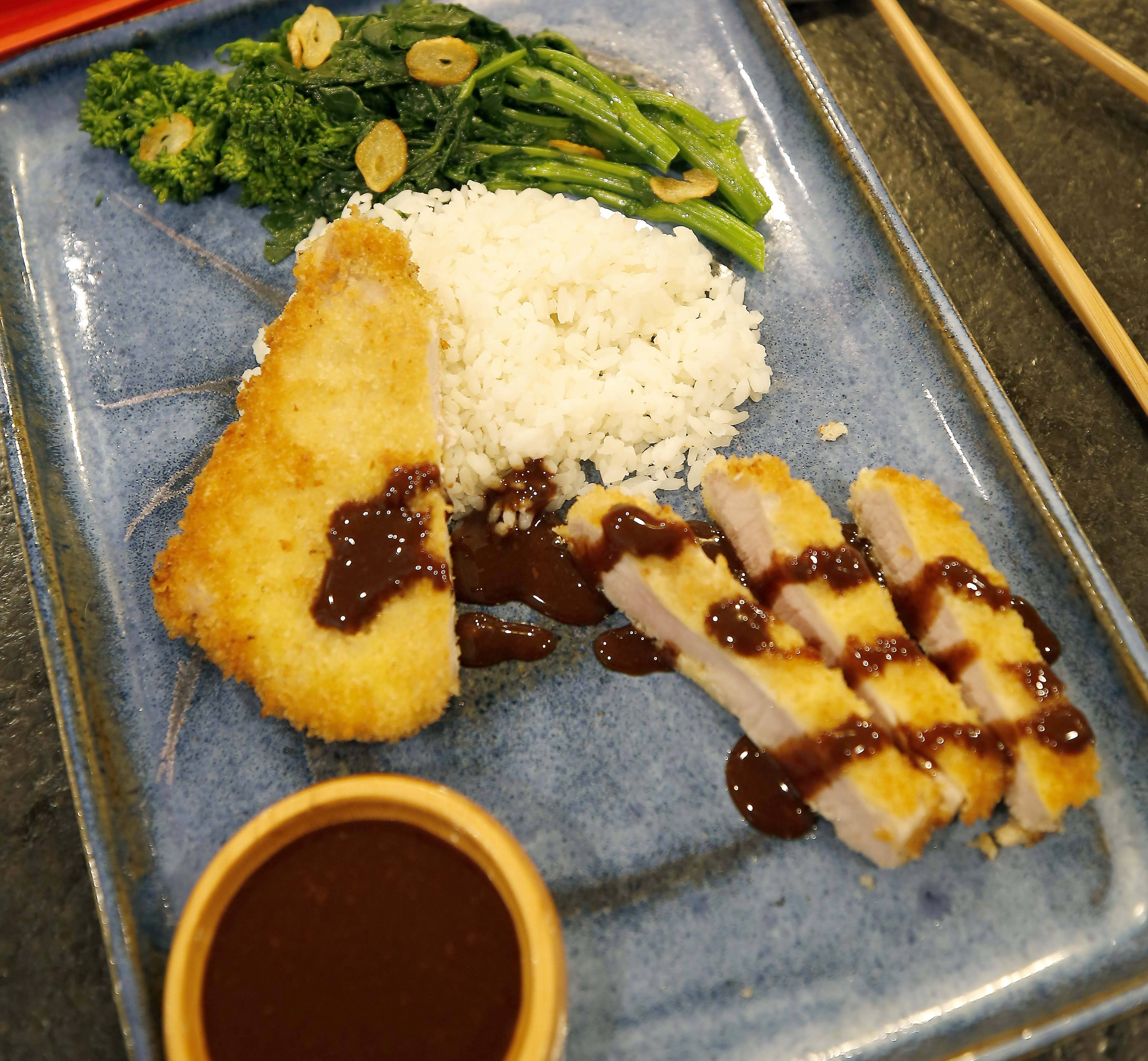 Mark Clemens' Breaded Pork Chops (Tonkatsu) with Japanese Barbecue Sauce and Broccoli Raab