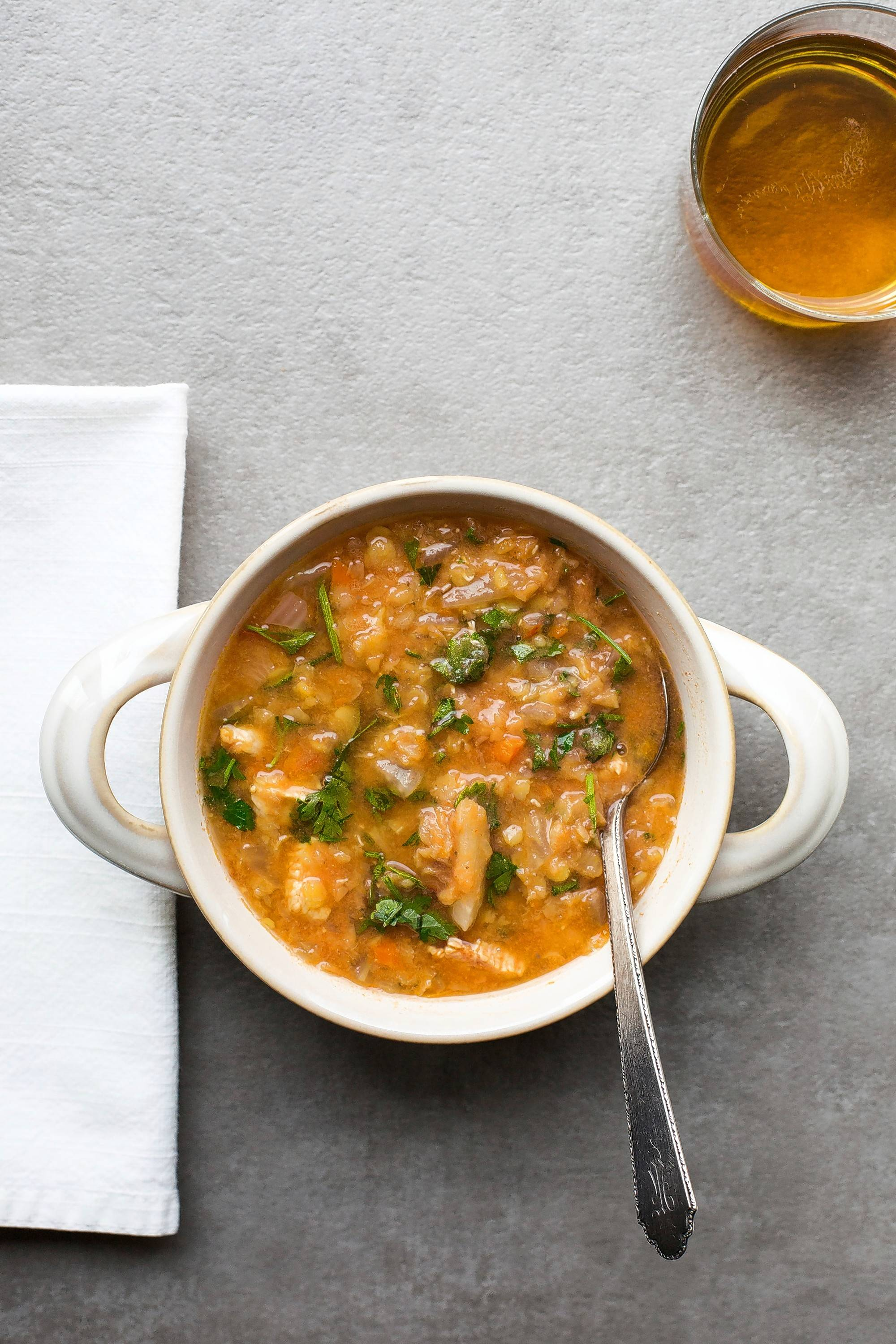 Red lentil and chicken slow-cooker soup is perfect for tailgating