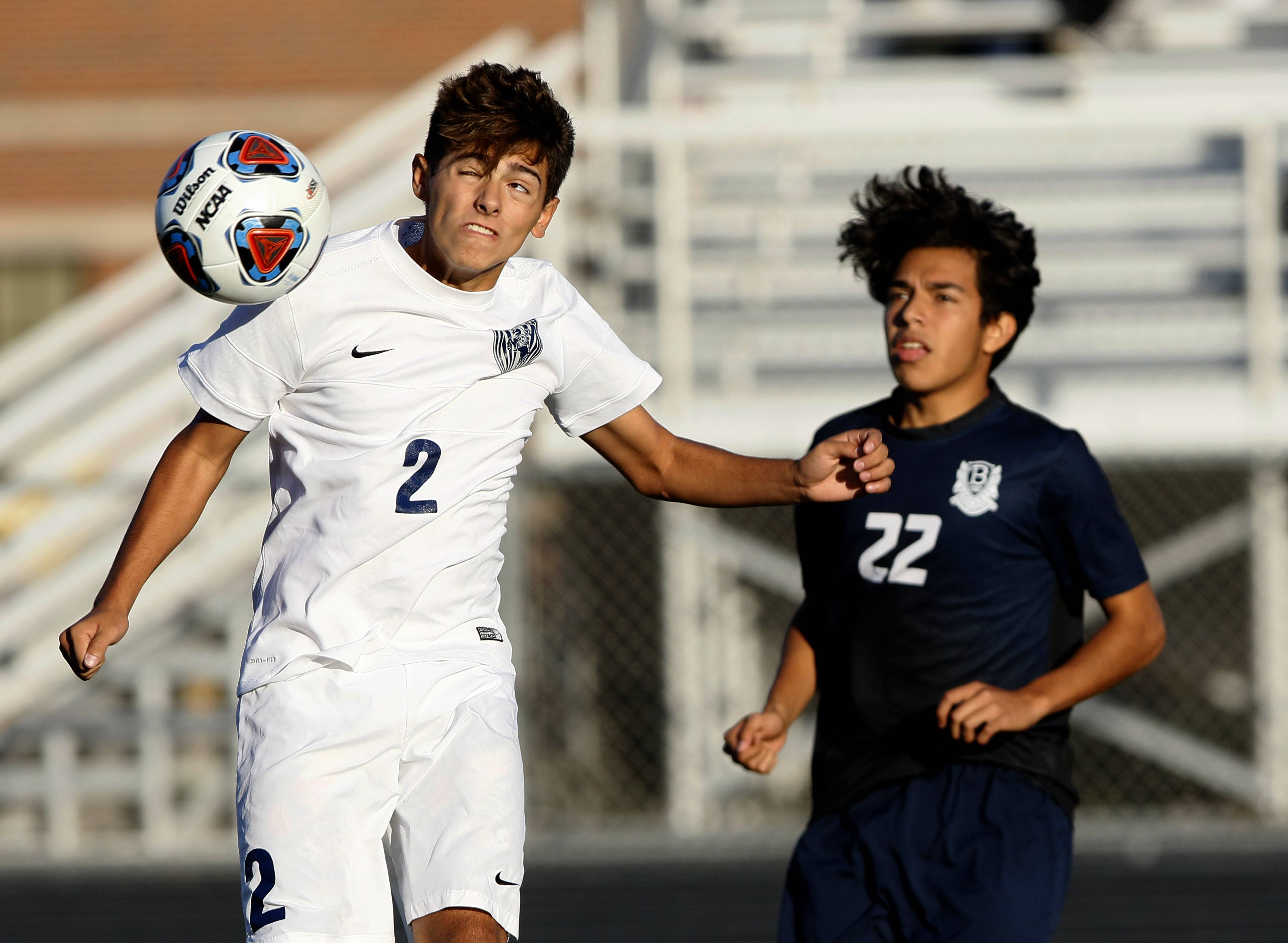 Lake Park's Gabriel Mendrano (2) battles for the ball with Bartlett's Sergio Navarrete (22) during the West Chicago boys soccer regional match.