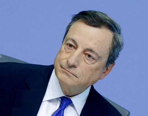 "FILE - In this April 27, 2017 file photo, President of the European Central Bank Mario Draghi attends a news conference in Frankfurt, Germany. Draghi said in a speech Wednesday, Oct. 18, 2017, that a perception that growth isn't benefiting everyone has ""fuelled the belief that some have been 'left behind' by the spread of market forces."" (AP Photo/Michael Probst, file)"