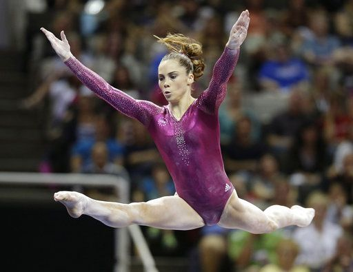 FILE - In this July 1, 2012, file photo, McKayla Maroney performs in the floor exercise event during the final round of the women's Olympic gymnastics trials in San Jose, Calif. Two-time Olympic medalist McKayla Maroney says she was molested for years by a former USA Gymnastics team doctor, abuse she said started in her early teens and continued for the rest of her competitive career. Maroney posted a lengthy statement on Twitter early Wednesday, Oct. 18, 2017,  that described the allegations of abuse against Dr. Larry Nassar, who spent three decades working with athletes at USA Gymnastics but now is in jail in Michigan awaiting sentencing after pleading guilty to possession of child pornography.