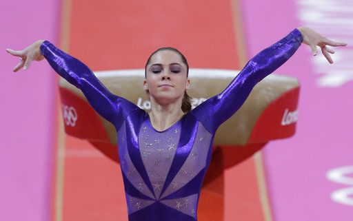 FILE - In this  July 29, 2012, file photo, U.S. gymnast McKayla Maroney poses after completing her routine on the vault during the Artistic Gymnastic women's qualifications at the 2012 Summer Olympics in London. Maroney posted a statement on Twitter Oct. 18, 2017, in which she said she was molested for years by former Team USA doctor Larry Nassar.