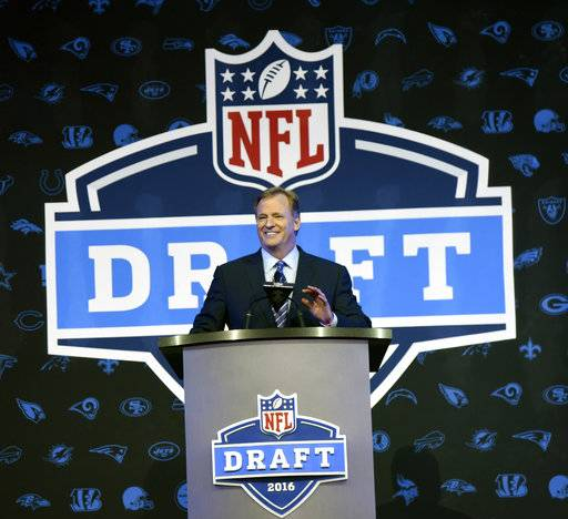 FILE - In this April 28, 2016, file photo, NFL Commissioner Roger Goodell opens the NFL football draft in Chicago. The NFL draft is headed for Dallas. The Cowboys will host the 2018 draft in April. Virtually every NFL city, plus the Pro Football Hall of Fame site in Canton, Ohio, has expressed interest in holding the draft now that the league moves it around. (AP Photo/Matt Marton, File)