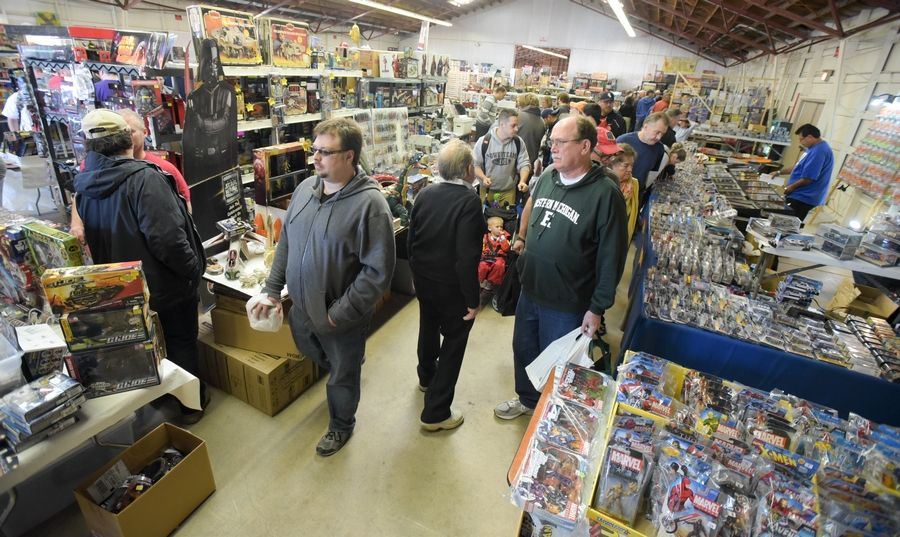 Visitors search the offerings at the 43rd Chicago Toy Show at the Kane County Fairgrounds, St. Charles.